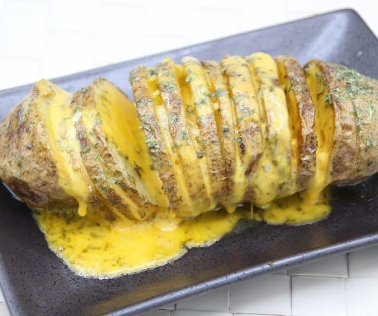 Air Fryer Easy Cheesy Hasselback Potatoes