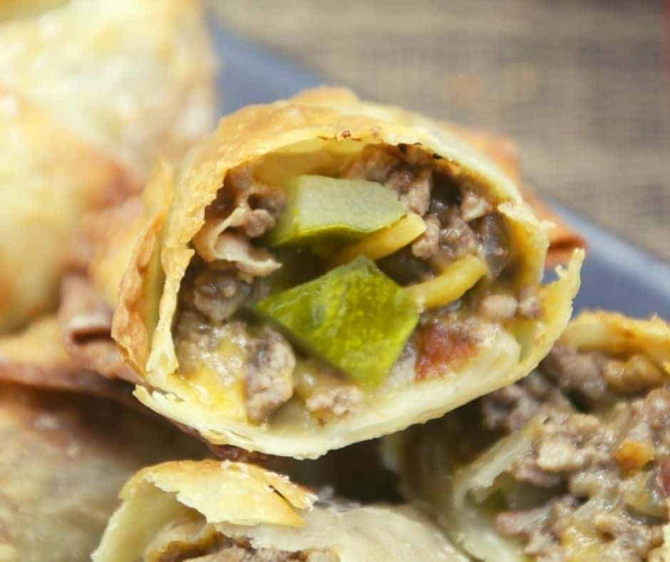 Air Fryer Cheeseburger Egg Rolls