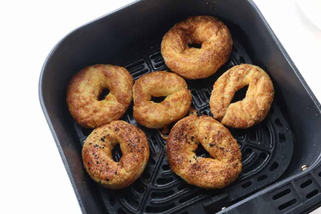 Cooked KETO Bagels in Air Fryer