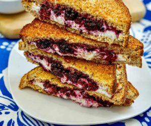 Air Fryer Blackberry & Goat Cheese Sandwich