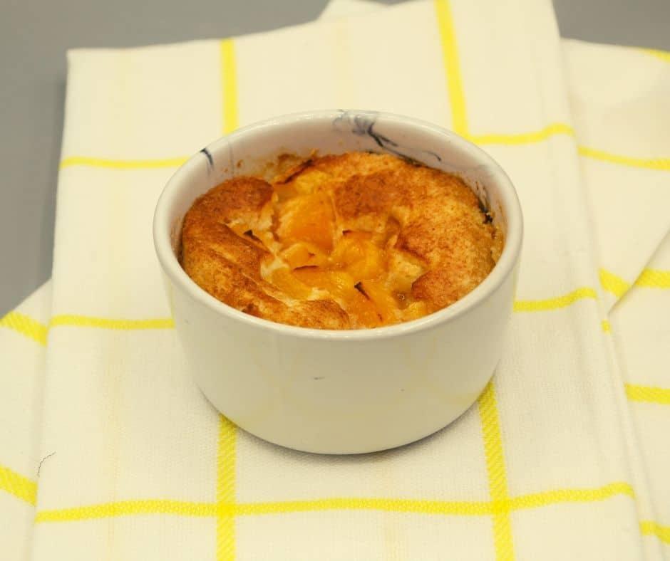 Air Fryer Peach Cobbler Mug Cake