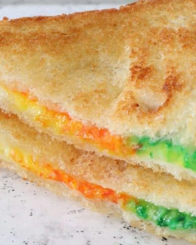 Air Fryer St. Patrick's Day Rainbow Grilled Cheese