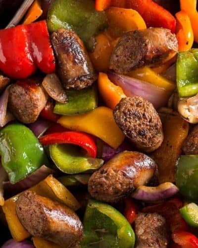 Air Fryer Sausage, Peppers, and Onions