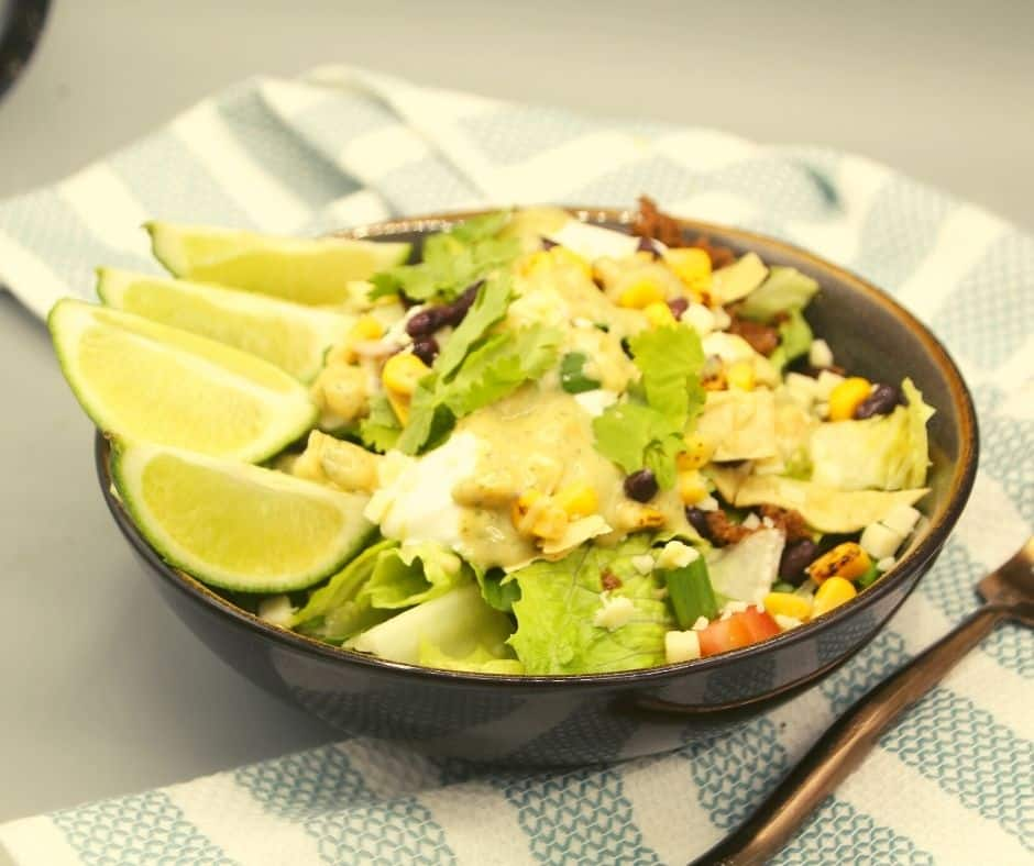 Plated Air Fryer Taco Salad