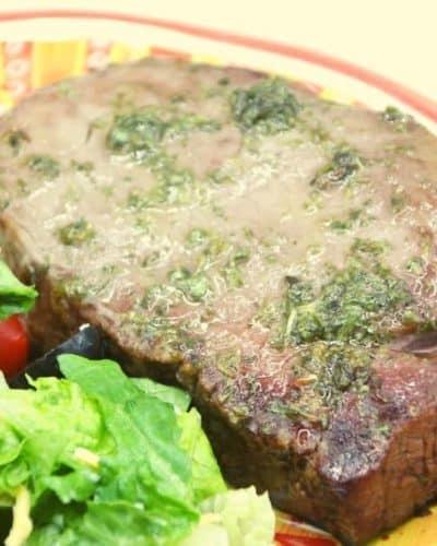 Air Fryer Steak with Garlic-Parsley Sauce