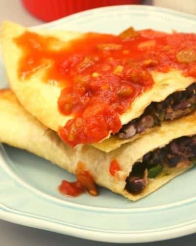 Air Fryer Cheesy Black Bean Quesadillas