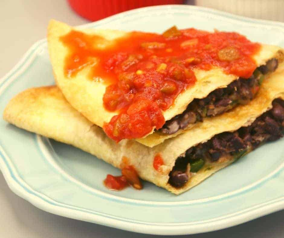 Air Fryer Cheesy Black Bean Quesadillas