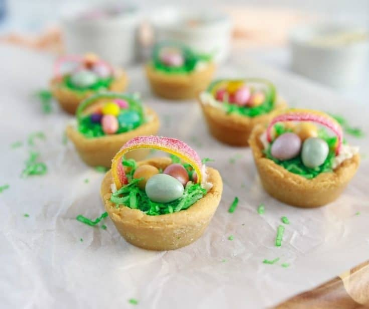 Air Fryer Easter Basket Cookie Cups