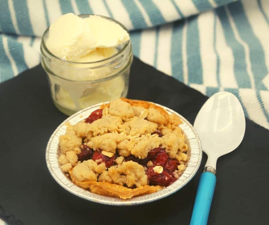 Air Fryer Cherry Crumb Pie With Side of Ice Cream #AirFryerDessert