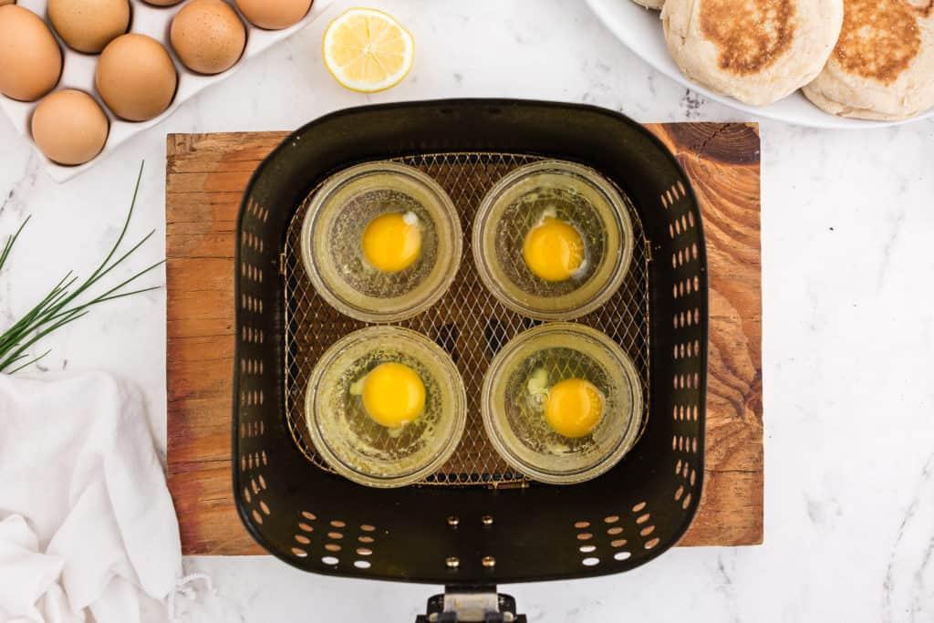 Eggs in Ramekins Close Up