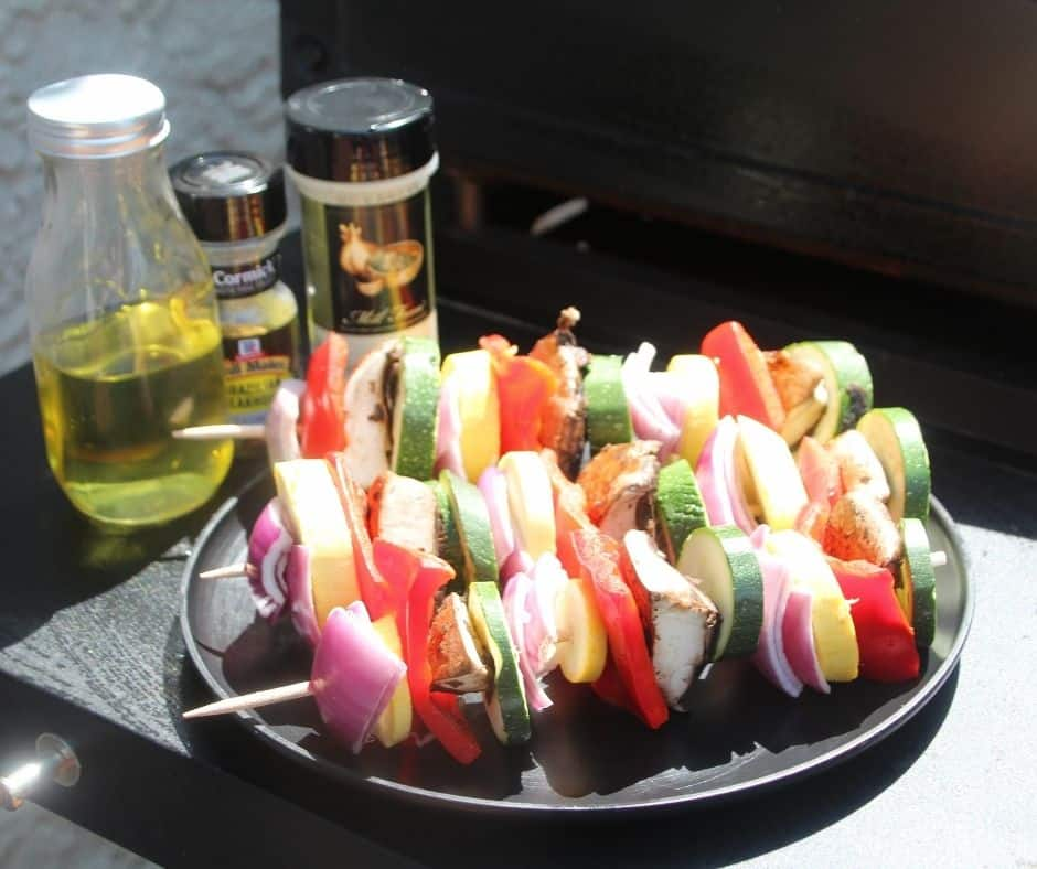 Vegetable Kebabs Kabobs on Blackstone Griddle