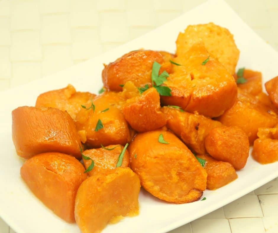 Cooked Canned Sweet Potatoes on Plate