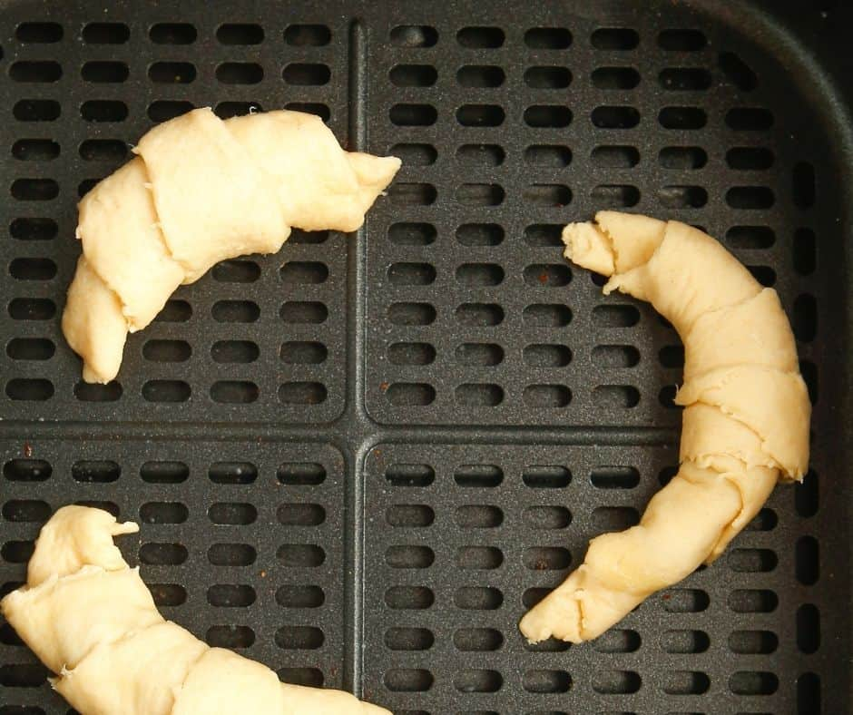 Crescent Rolls with Filling in Air Fryer Basket
