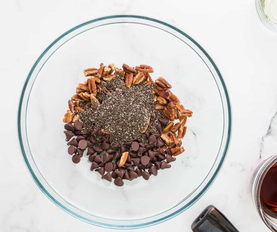 Ingredients for Chocolate Chip granola in bowl