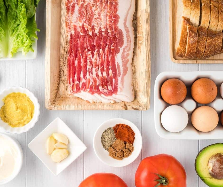 Ingredients In Air Fryer BLT With Hard-Boiled Eggs