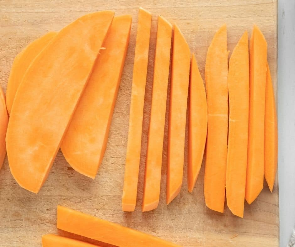Peel and Cut The Sweet Potatoes