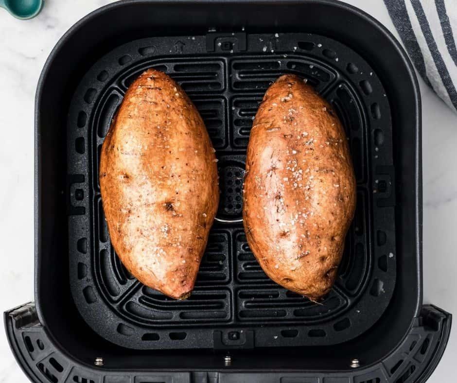 Sweet Potatoes in Air Fryer Basket