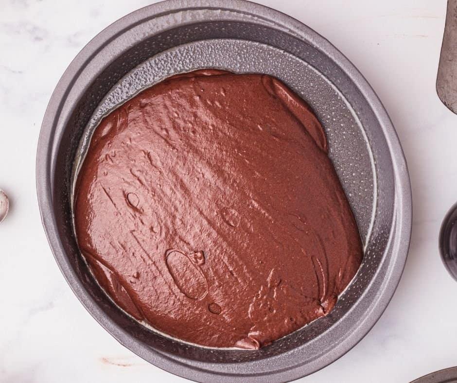 Devil's Food Cake Batter in Pans