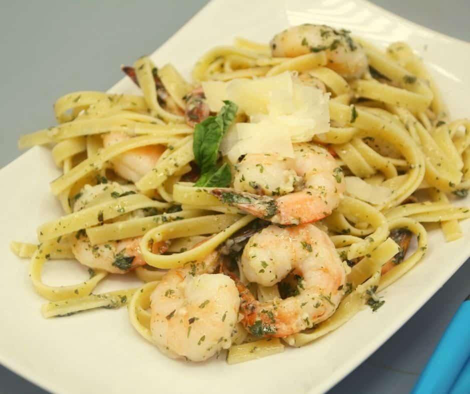Garlic Parmesan Air-Fried Shrimp Recipe Over a Bed of Pasta