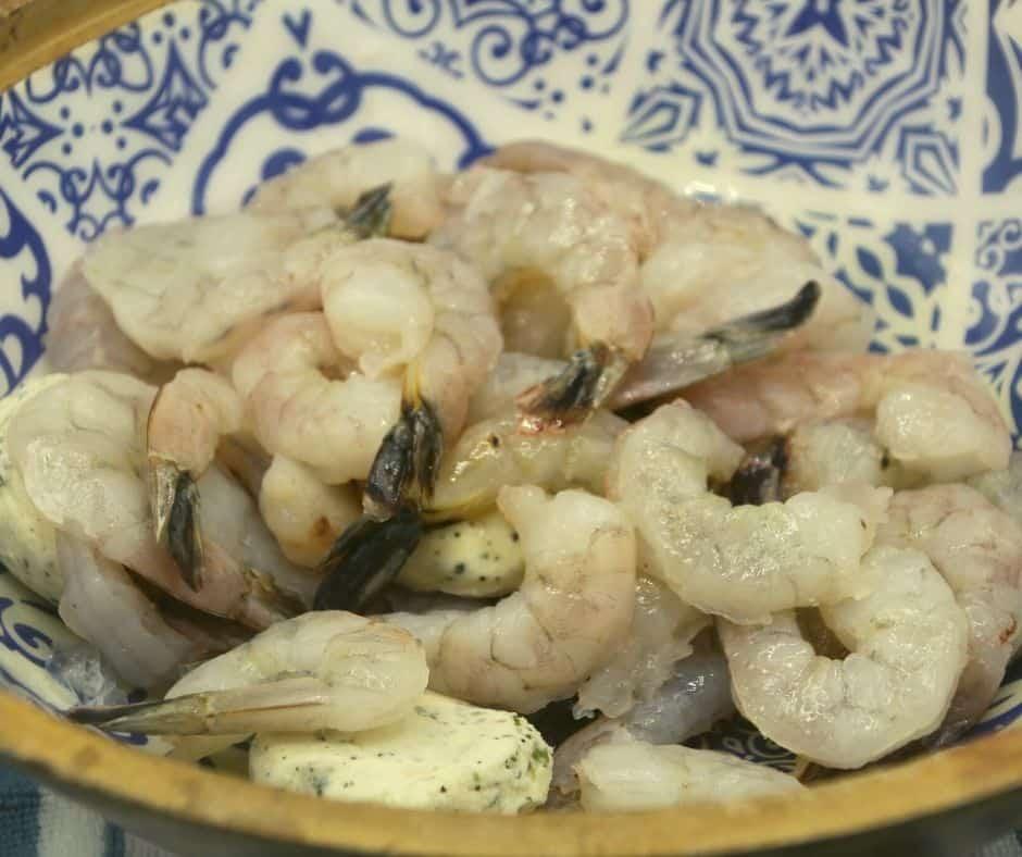 Bowl Full of Shrimp, Lemon Juice, Butter, Parsley, Salt and Black Pepper