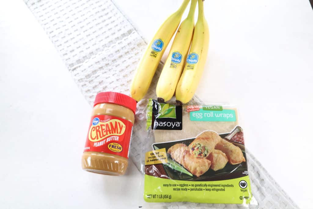 Ingredients For Banana Peanut Butter Egg Rolls