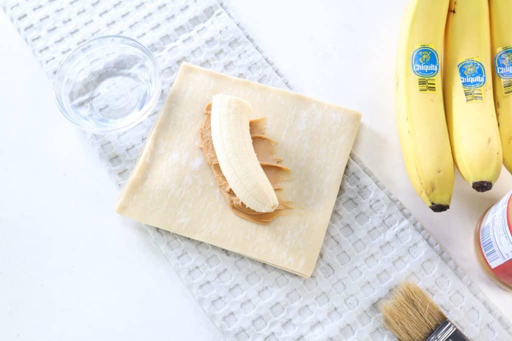 Banana on Peanut Butter in Egg Roll Wrapper