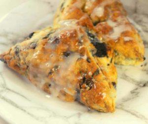 Air Fryer Blueberry Scones with Vanilla Glaze