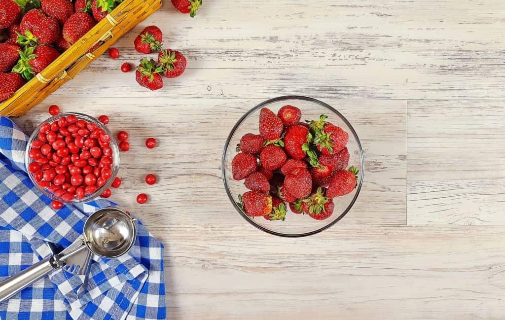 Fresh Strawberries On Cutting Board