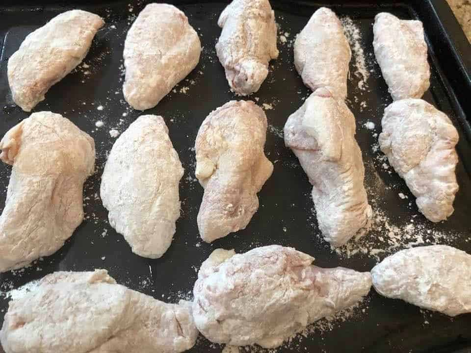 Coated Wings with Baking Soda on Counter