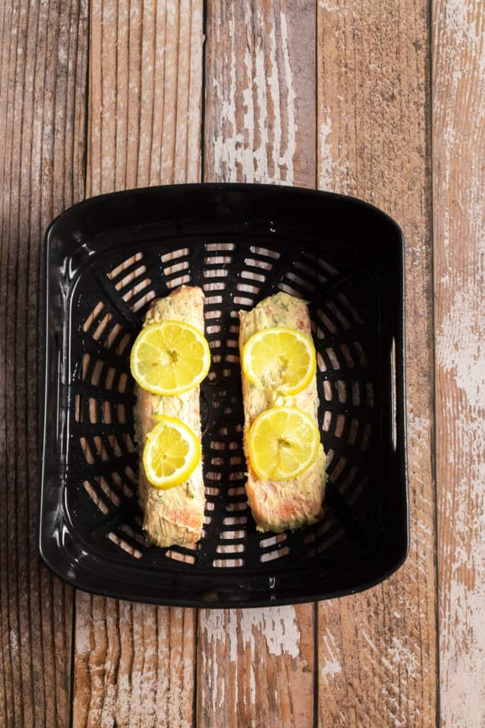Lemon Dill Air Fryer Salmon In Air Fryer Basket