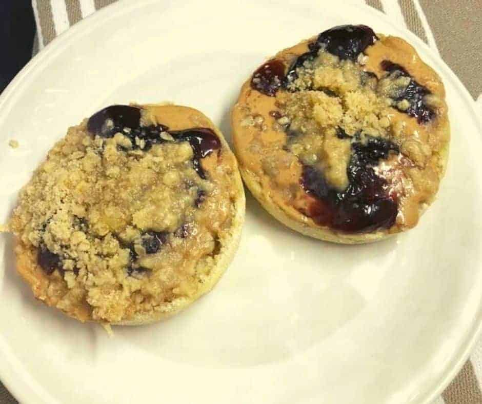 Air Fryer Peanut Butter & Jelly Streusel English Muffins
