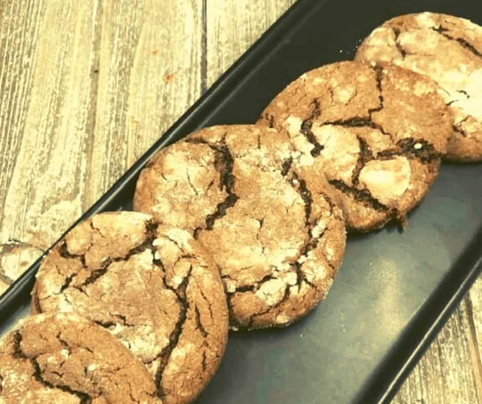Air Fryer Chocolate Crinkle Cookies in Powdered Sugar