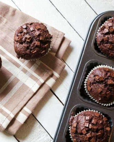 Air Fryer Double Chocolate Chip Muffins