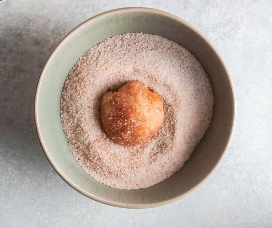 Air Fryer Apple Pie Bombs Rolled in Butter, than Cinnamon Sugar