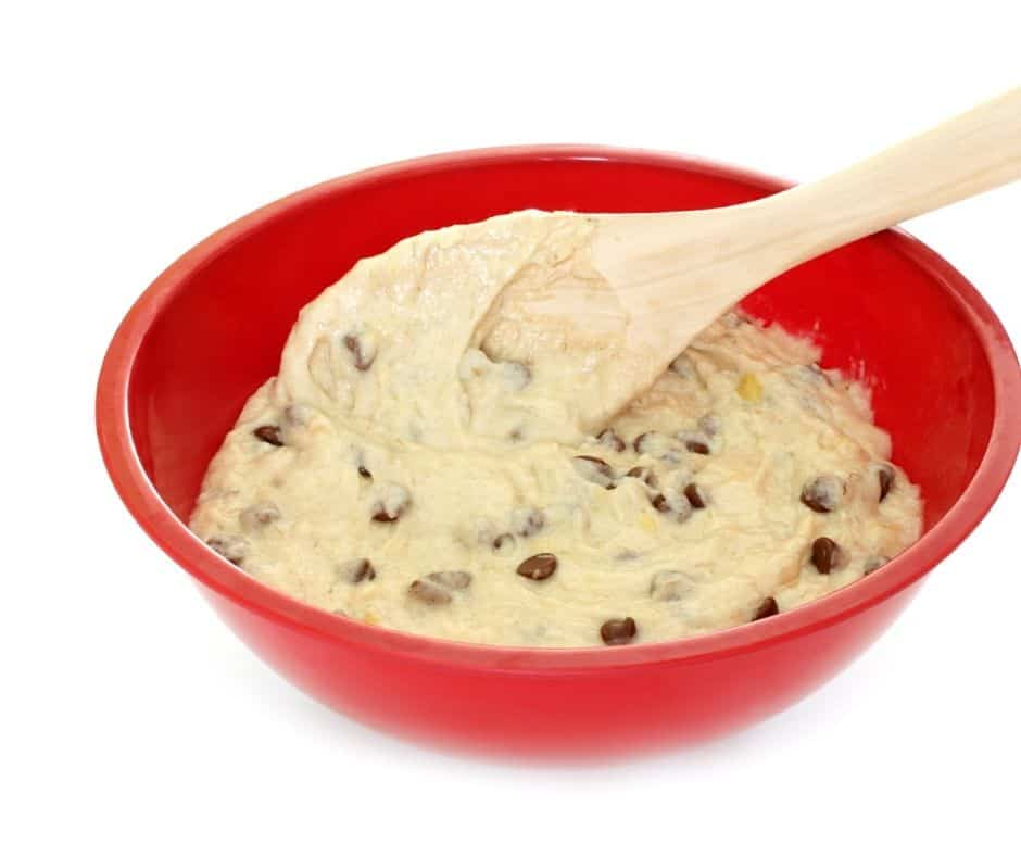 Chocolate Chip Cookies Batter in Bowl