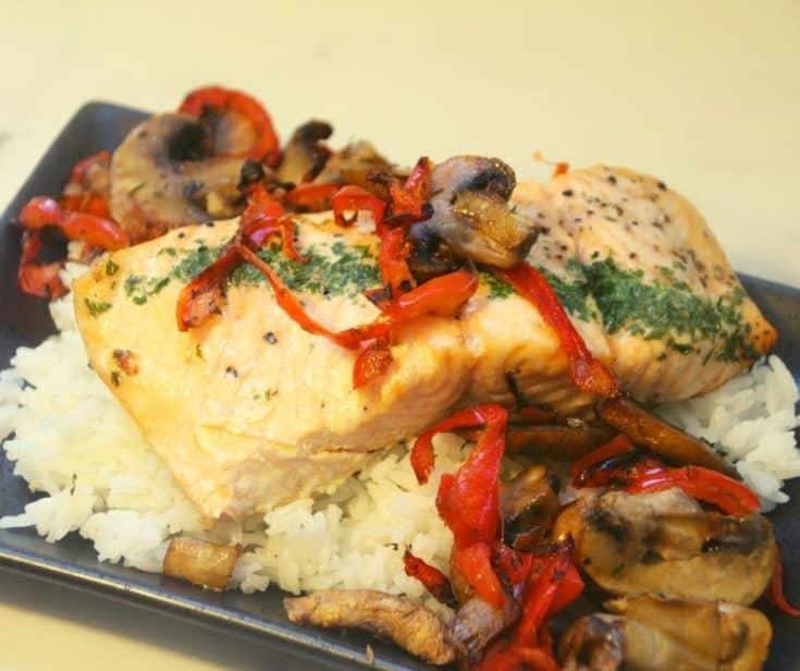 Air Fryer Salmon With Mushroom Sauce