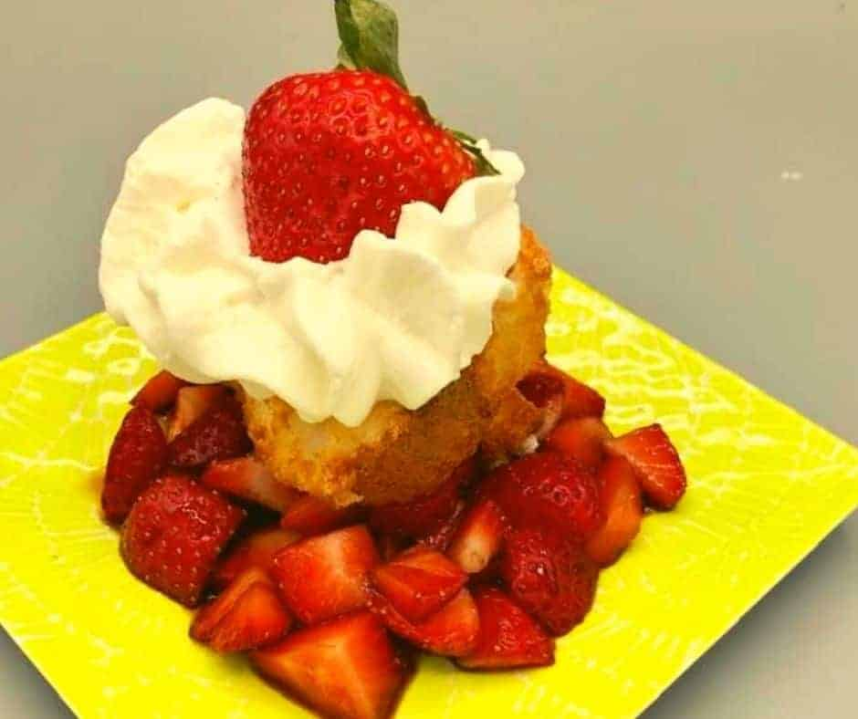 Air Fryer Grilled Strawberry Angel Food Cake