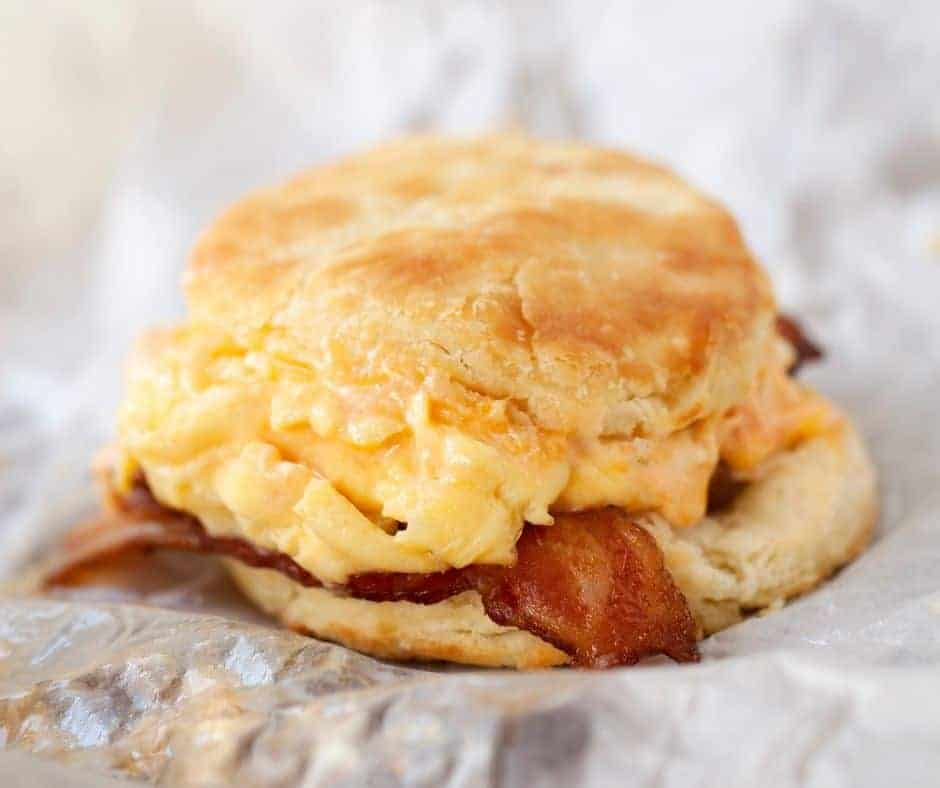 Air Fryer Breakfast Biscuits With Eggs & Bacon