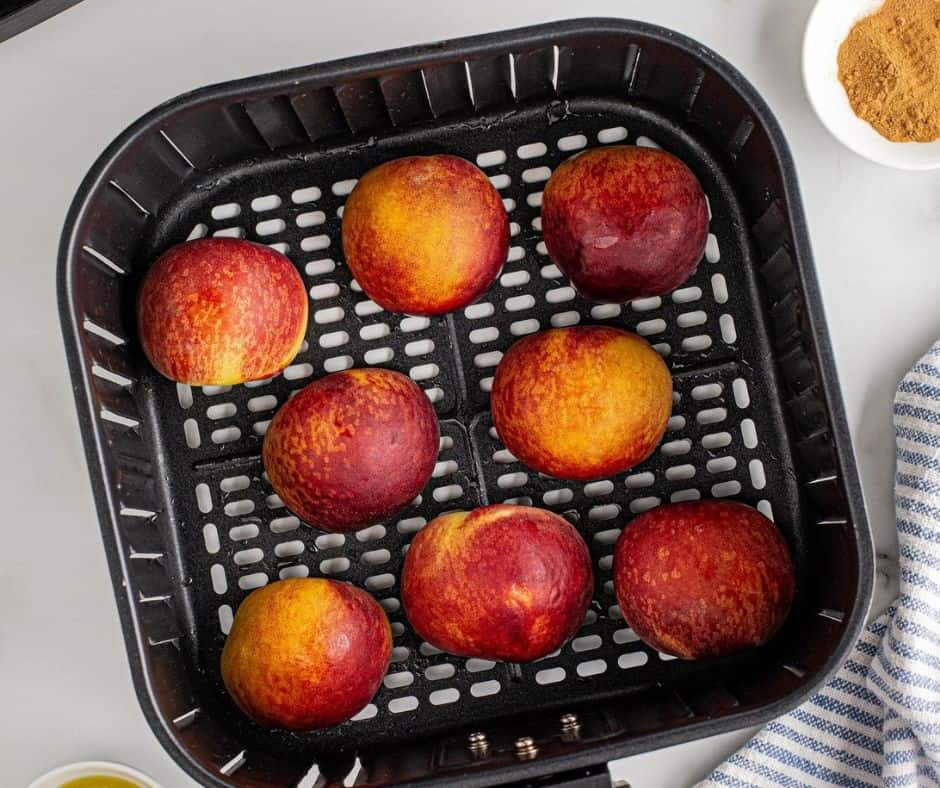 Peaches in Air Fryer Basket