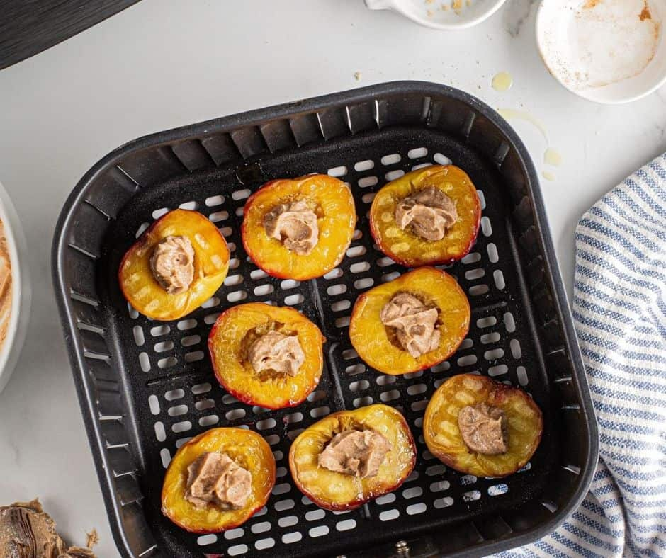 Basket with Grilled Peaches in Air Fryer
