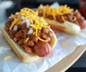 Air Fryer Chili Cheese Hot Dogs