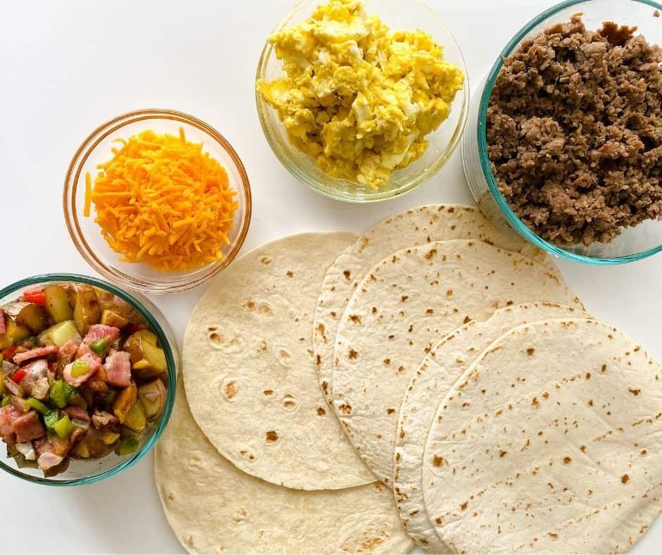 Assemble Breakfast Burritos