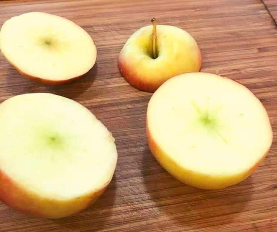 Cut Top Off Apple With Baked Apples With Granola