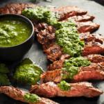 Air Fryer Flank Steak with Homemade Chimichurri Sauce