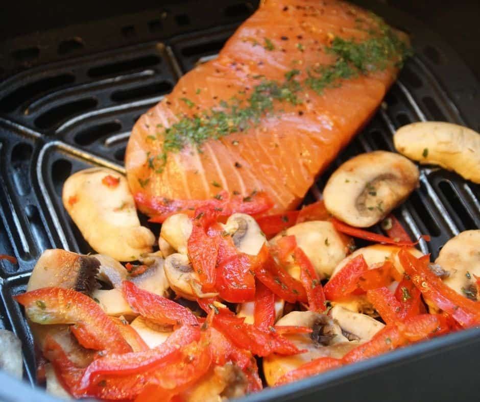 Salmon, Roasted Red Peppers, and Mushrooms in Air Fryer Basket