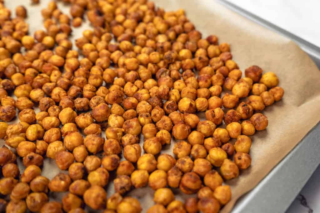 Air Fryer Spicy Roasted Chickpeas on Tray