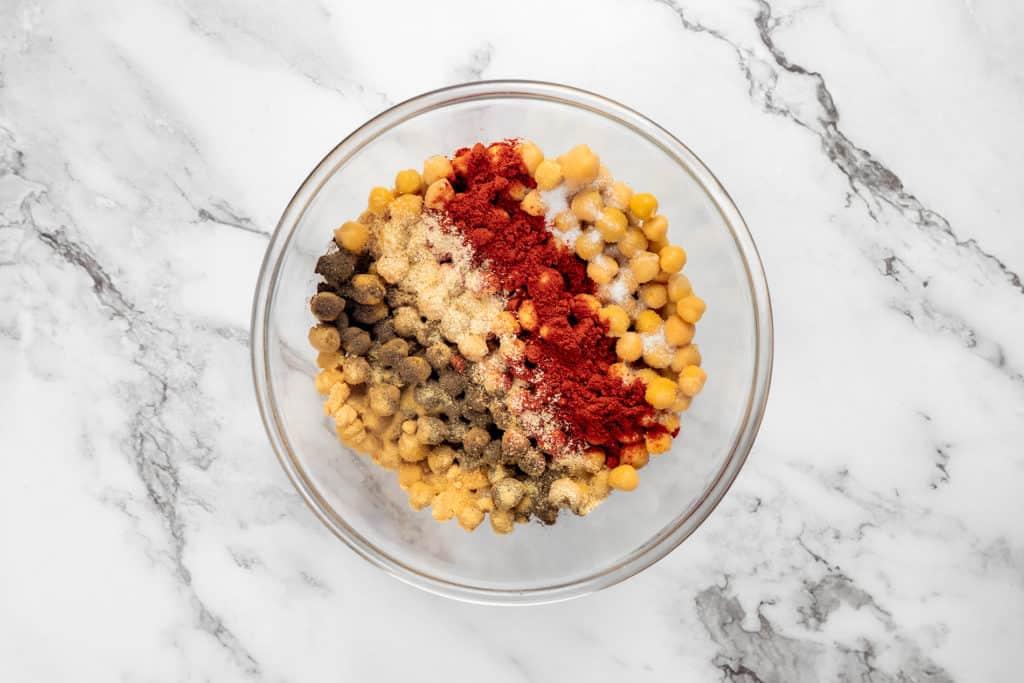 Add Spicy Chickpeas Ingredients In Bowl Air Fryer