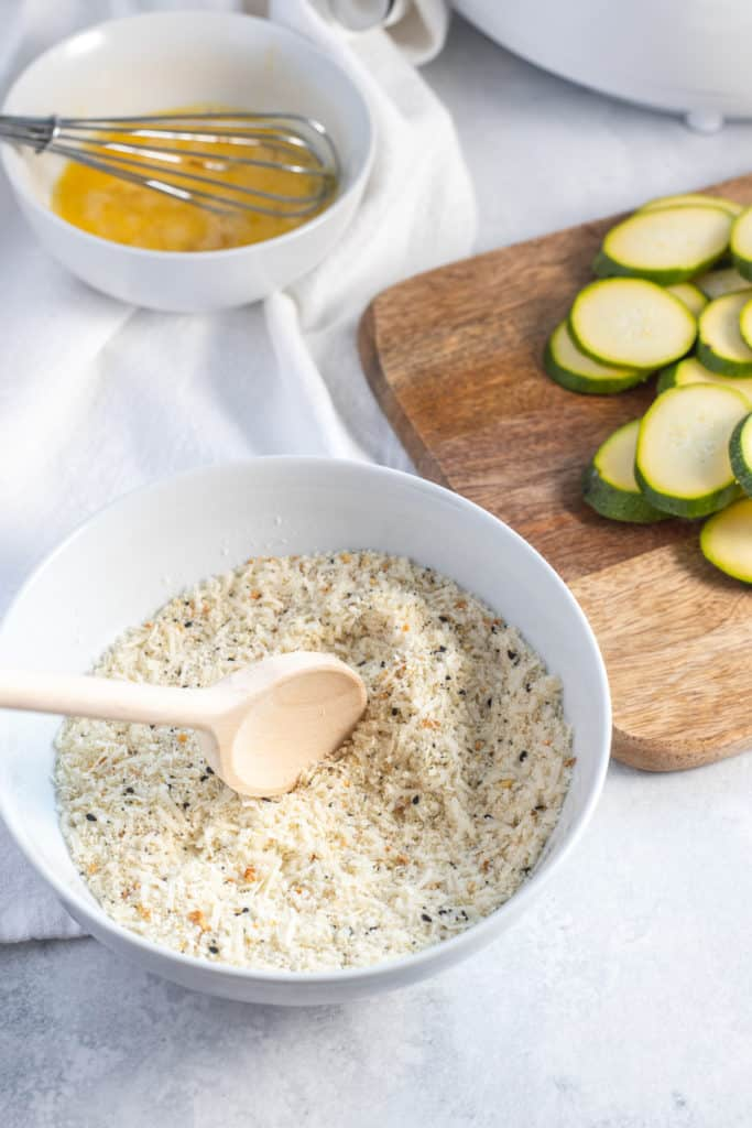 Zucchini Dipped in Egg then almond flour
