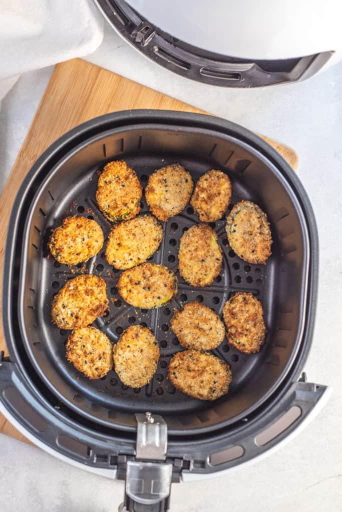 Zucchini Chips in Air Fryer Basket