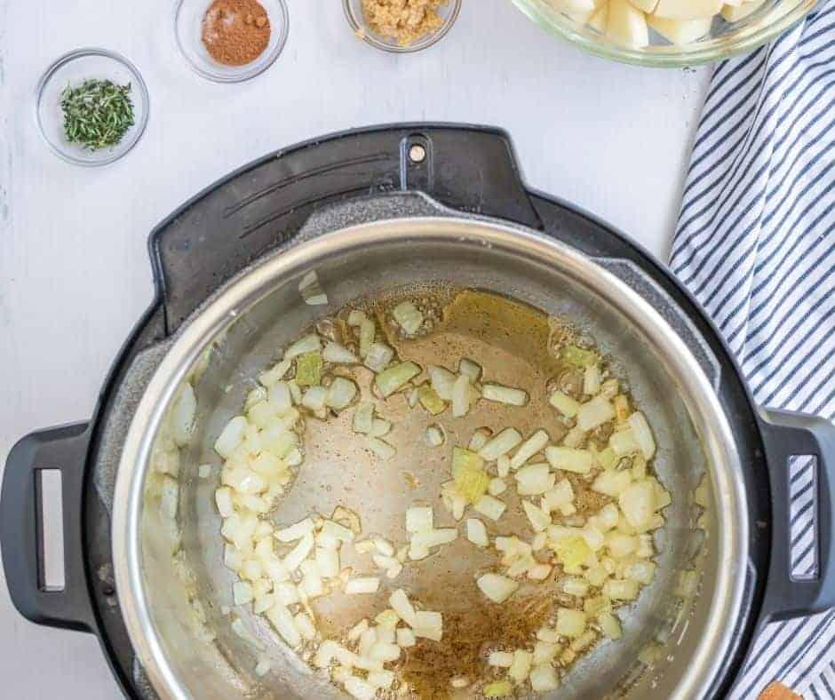 Saute Onions in IP Bowl  Instant Pot Potato Soup